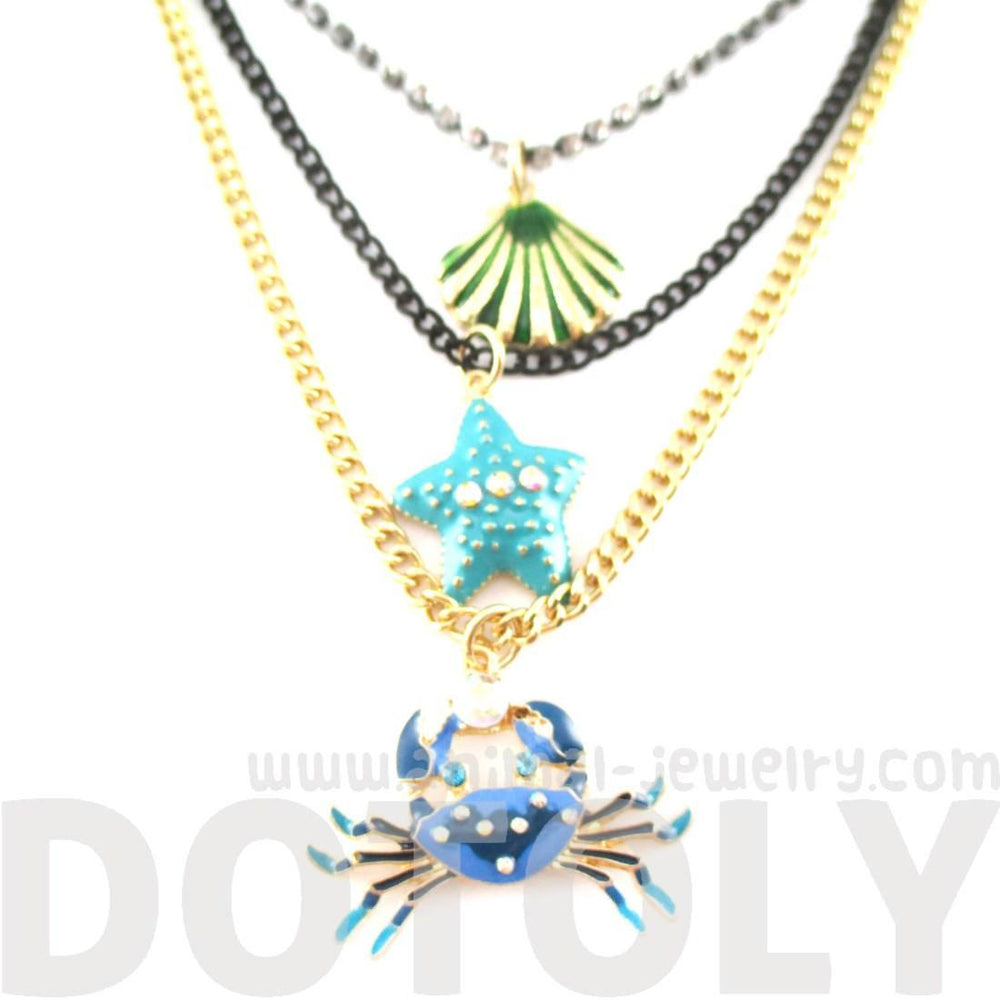Blue Crab Starfish Sea Shell Multi Layered Necklace