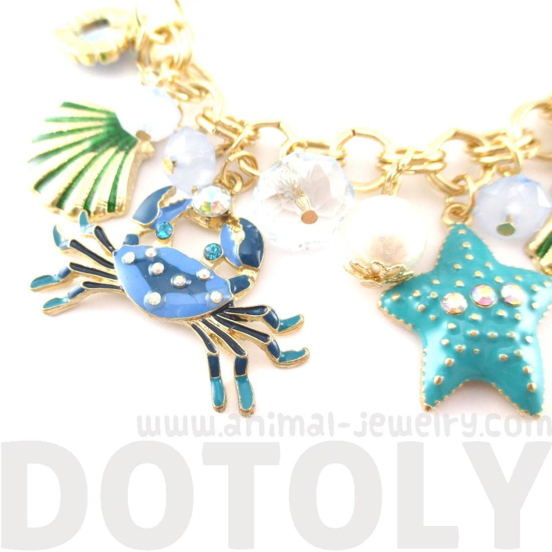 Blue Crab Starfish Jewels of the Sea Charm Bracelet