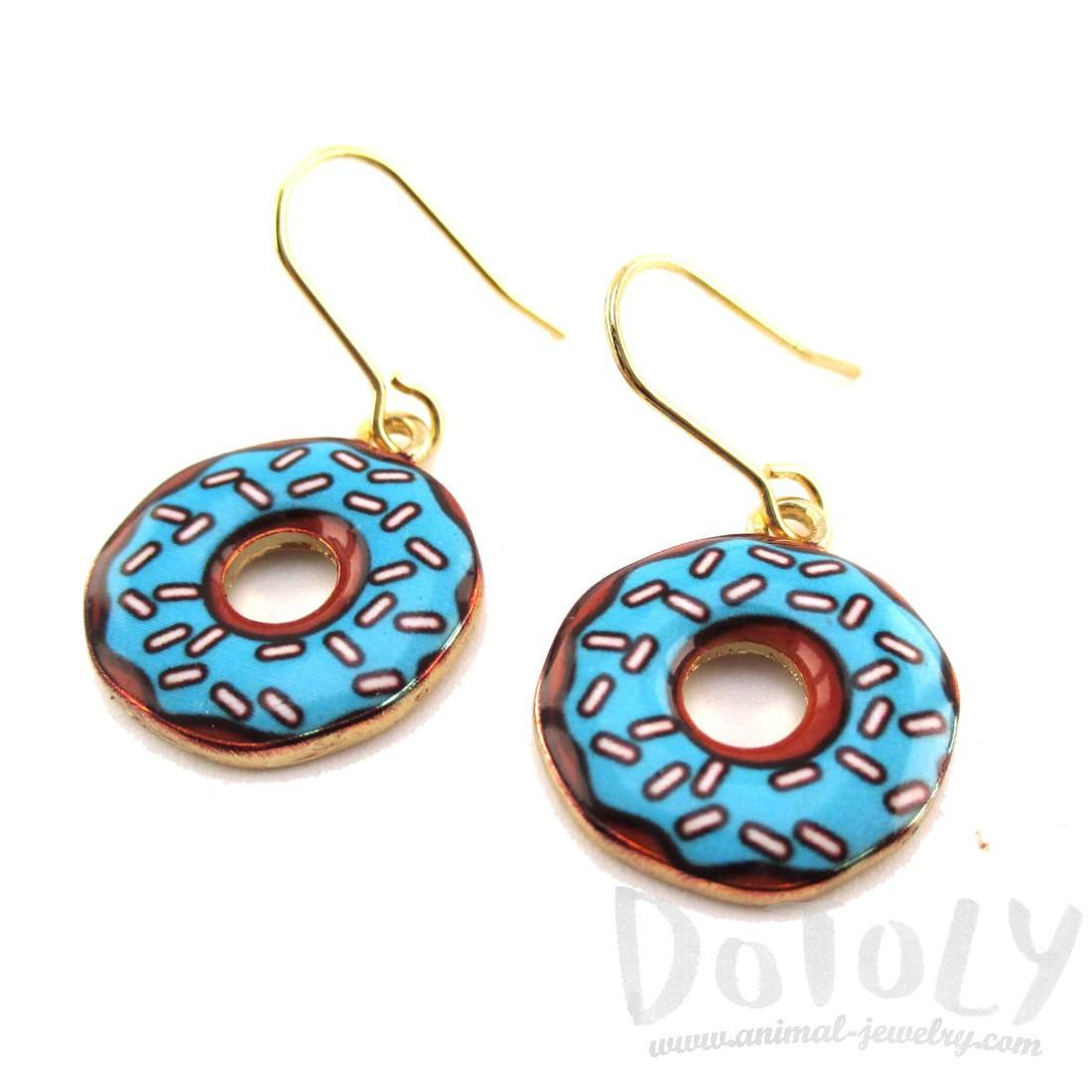 Blue Handmade Donut Shaped Dangle Earrings | Food Themed Jewelry