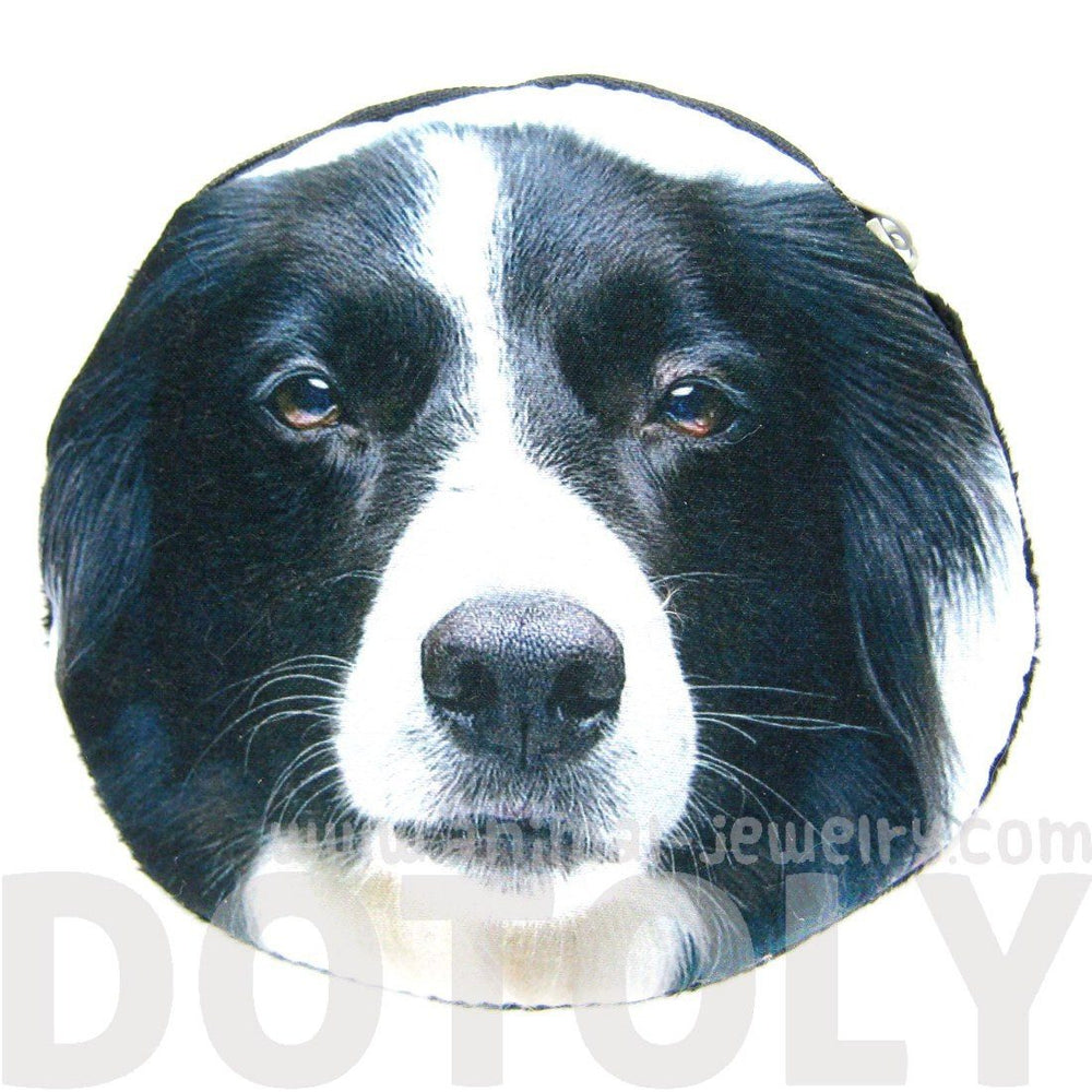 Border Collie Puppy Dog Face Shaped Cute Fabric Coin Purse Make Up Bag