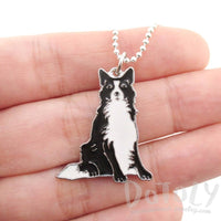 Border Collie Puppy Dog Shaped Animal Pendant Necklace
