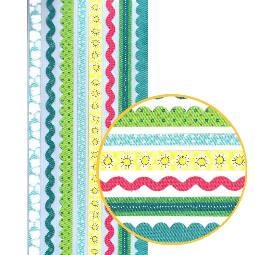 Decorative Fabric Trim Border Fabric Trim Stickers For Scrapbooking In Shades Of Blue
