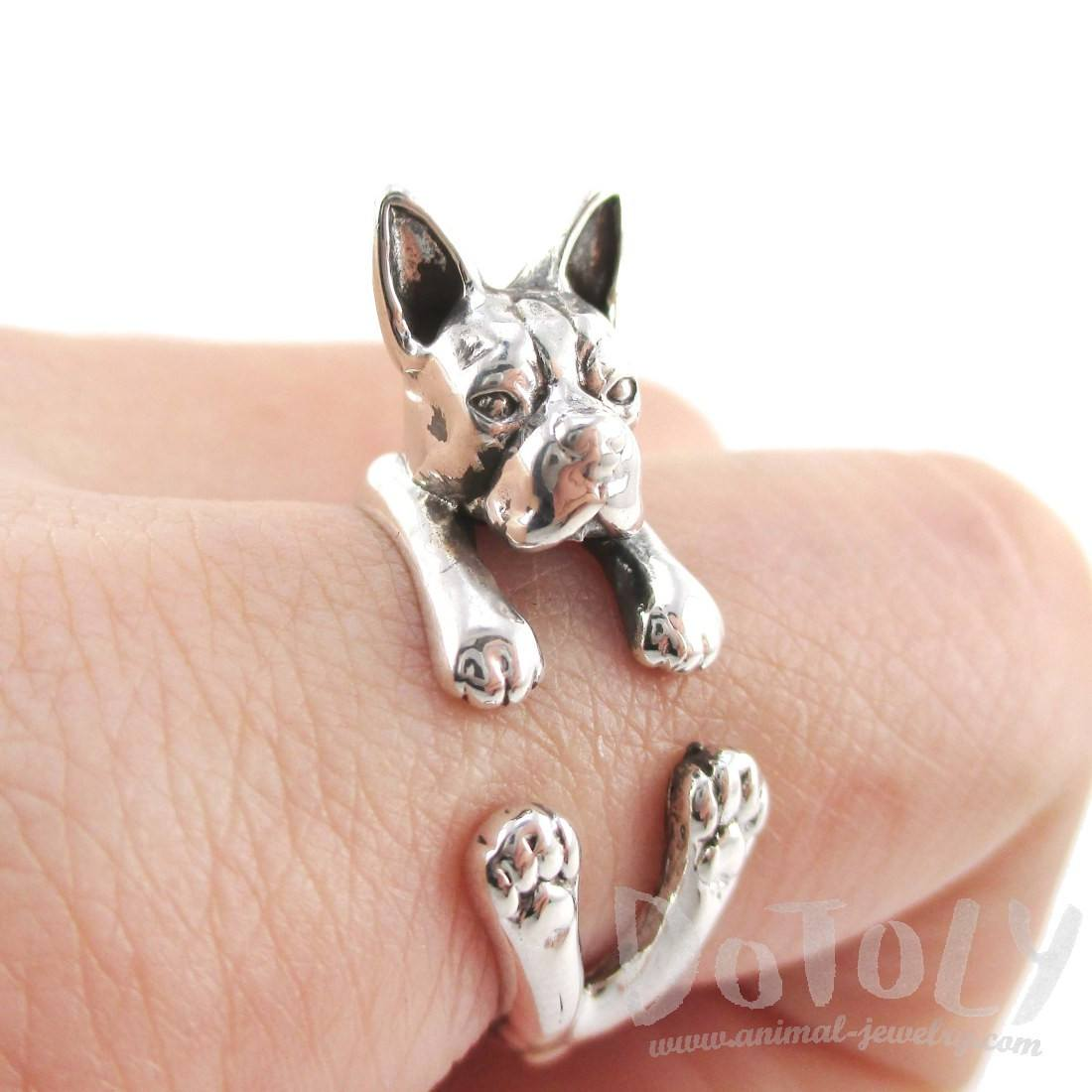 925 Sterling Silver Boston Terrier Shaped Animal Ring