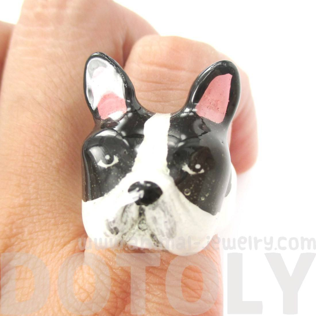 3D Boston Terrier Dog Shaped Enamel Animal Ring in Black and White