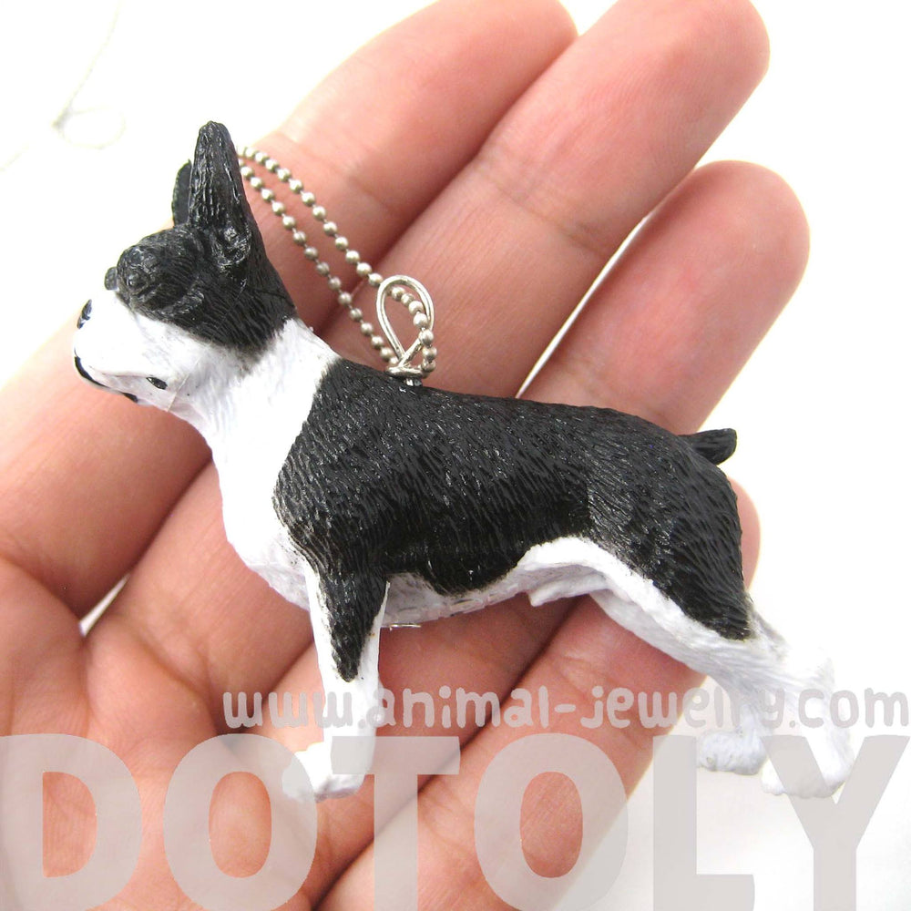 Boston Terrier Puppy Dog Animal Plastic Pendant Necklace | Animal Jewelry | DOTOLY