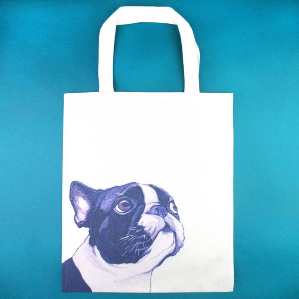 Boston Terrier Puppy Illustrated Canvas Shopper Tote Bag | DOTOLY