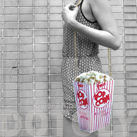 Box of Popcorn Shaped Vinyl Photo Print Cross Body Shoulder Bag