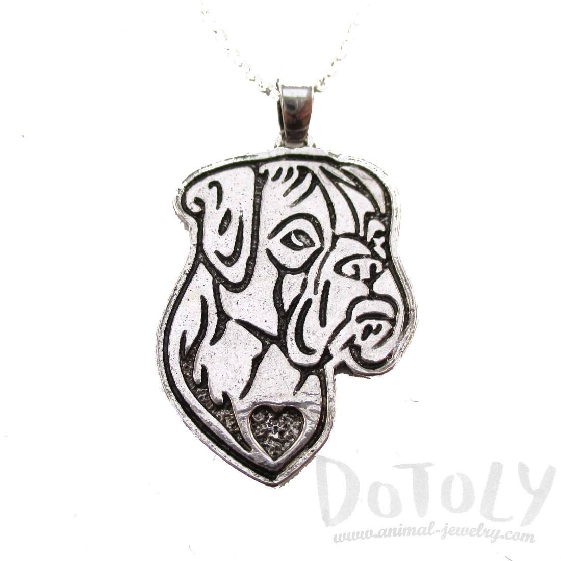 Boxer Puppy Dog Portrait Pendant Necklace in Silver