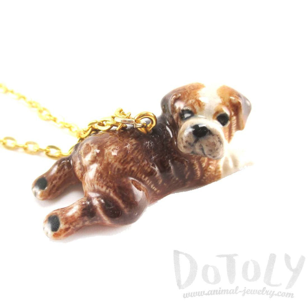 British Bulldog Puppy Dog Porcelain Ceramic Animal Pendant Necklace