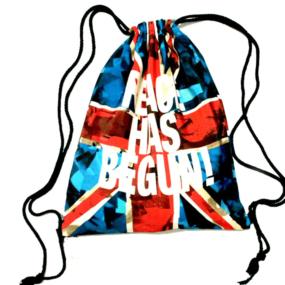 British Flag Peace Has Begun Typography Print Drawstring Backpack Bag