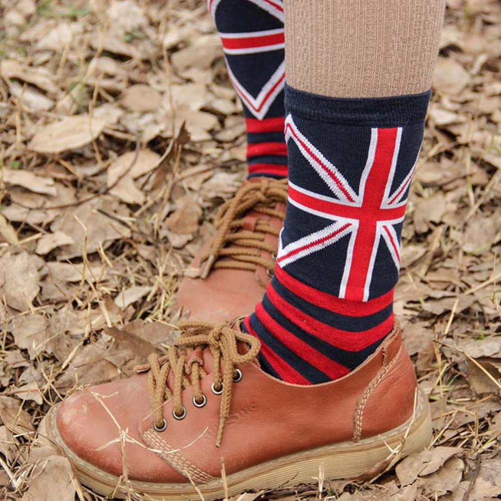 British Flag Union Jack and Stripes Print Long Cotton Socks for Women