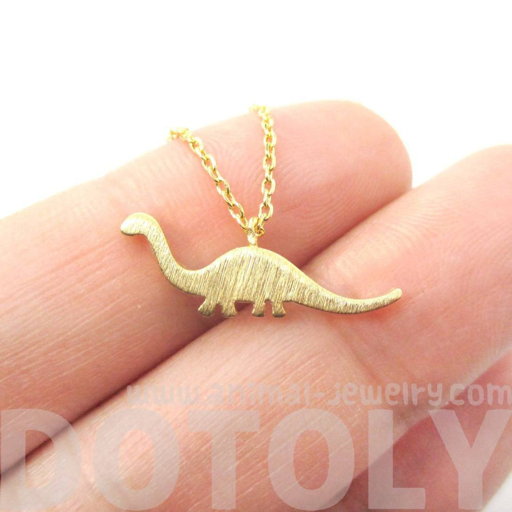 Brontosaurus Dinosaur Silhouette Prehistoric Animal Themed Charm Necklace in Gold | DOTOLY