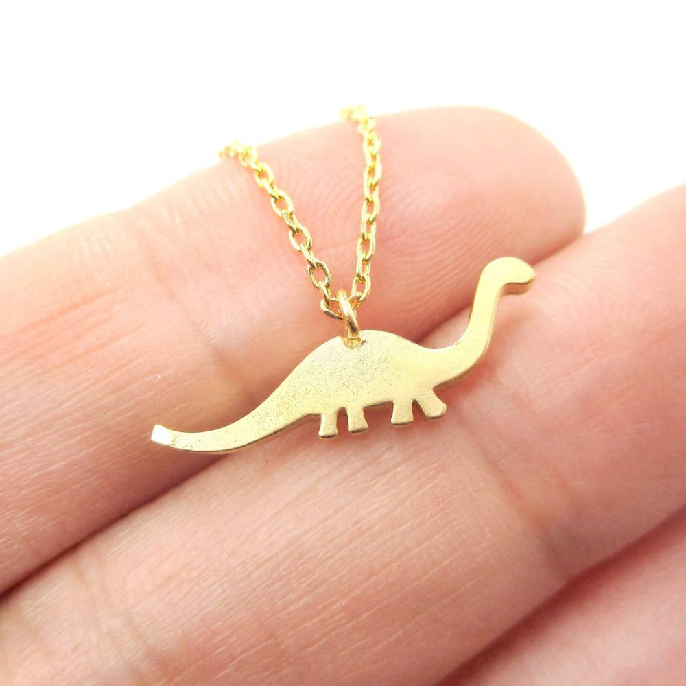 Brontosaurus Dinosaur Silhouette Animal Theme Charm Necklace in Gold