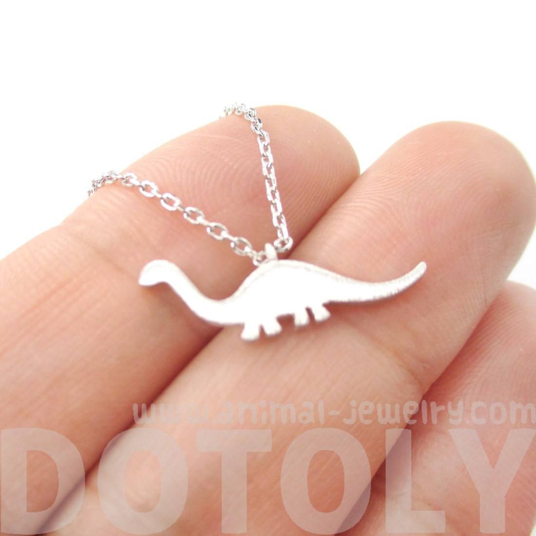 Brontosaurus Dinosaur Silhouette Animal Theme Charm Necklace in Silver