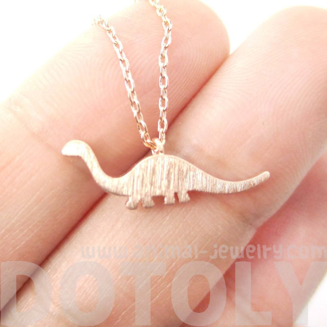 Brontosaurus Sauropoda Dinosaur Silhouette Charm Necklace in Rose Gold