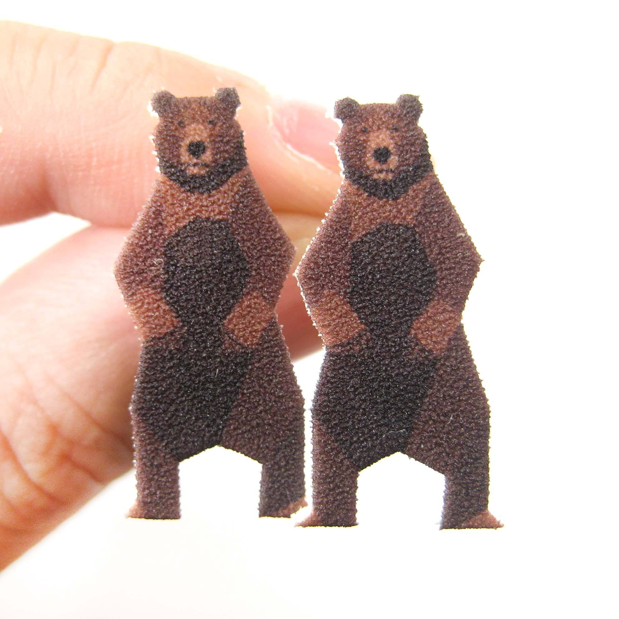 brown-bear-animal-illustration-stud-earrings-handmade-shrink-plastic