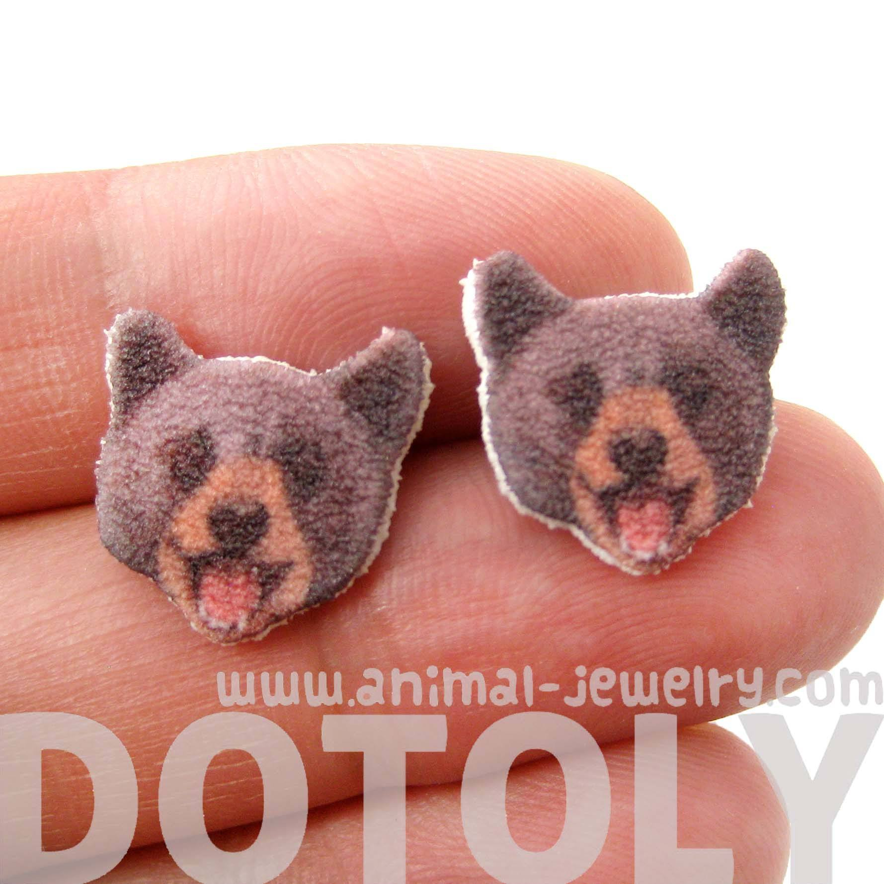 Brown Bear Head Animal Shaped Stud Earrings | Handmade Shrink Plastic