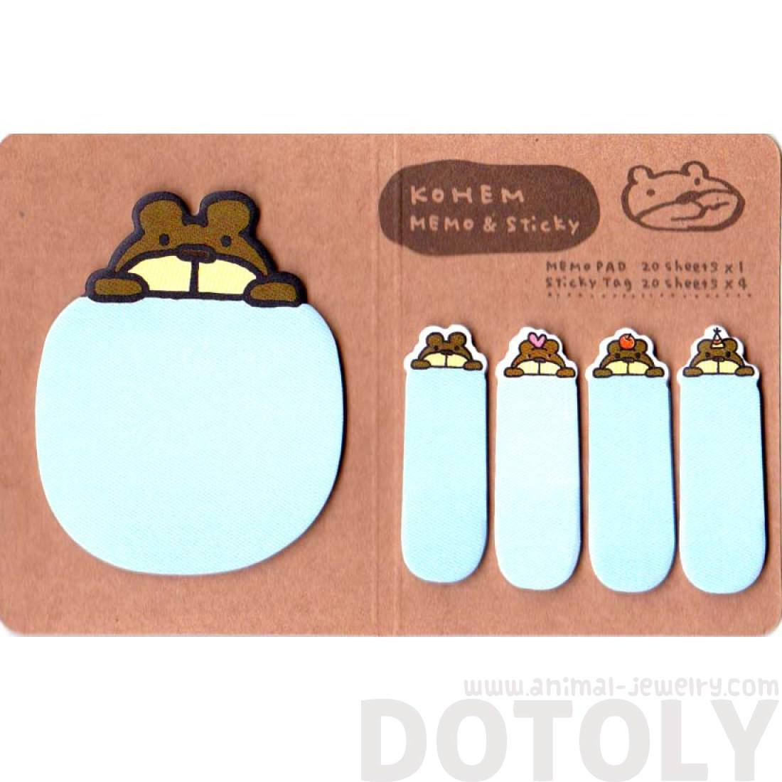 Brown Bear Shaped Adhesive Post-its and Memo Notepad