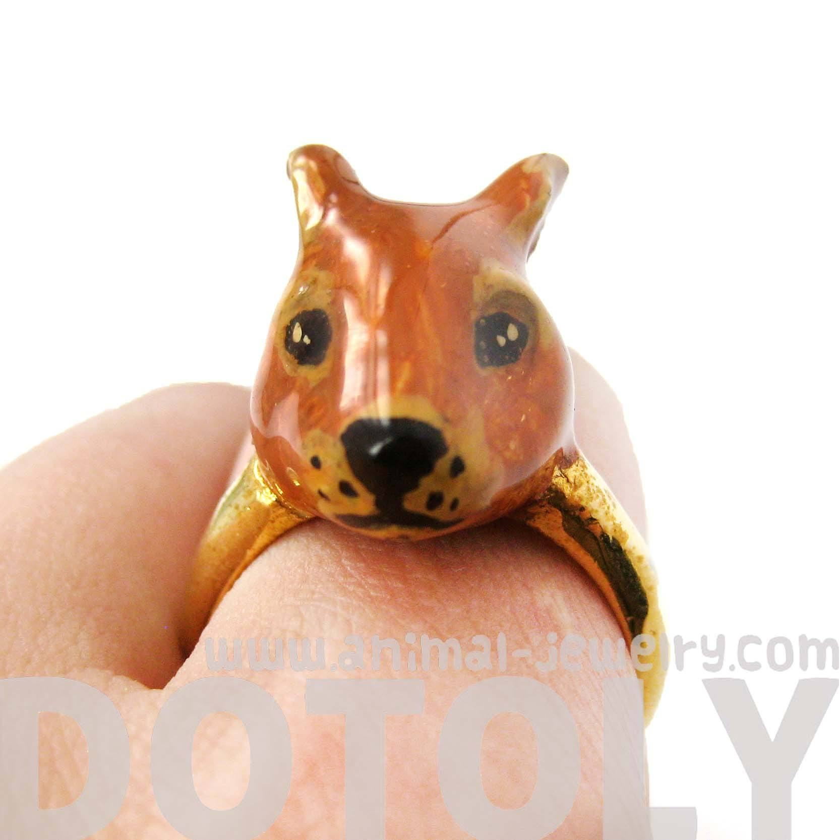 brown-bunny-rabbit-shaped-enamel-animal-ring-in-size-8-limited-edition