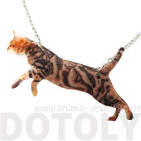 Brown Striped Kitty Cat Jumping in Mid Air Shaped Pendant Necklace