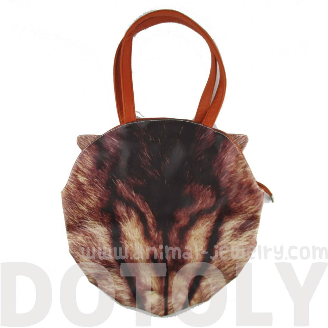 Brown Tabby Cat Face Shaped Shoulder Bag for Cat Lovers