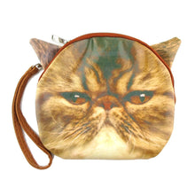Brown Grumpy Cat Face Shaped Clutch Bag for Cat Lovers
