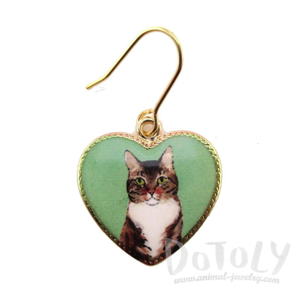 Brown Tabby Kitty Cat Portrait Heart Shaped Dangle Earrings | DOTOLY