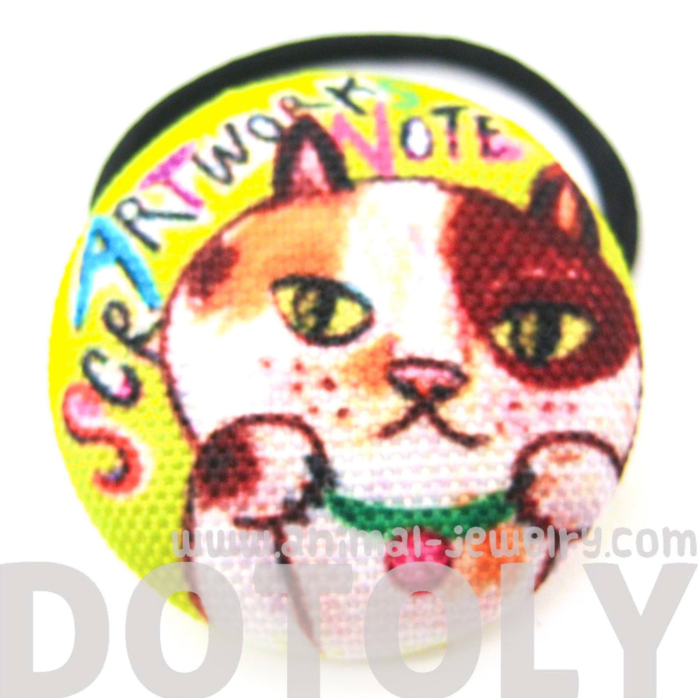 brown-tan-and-white-kitty-cat-animal-button-hair-tie-pony-tail-holder