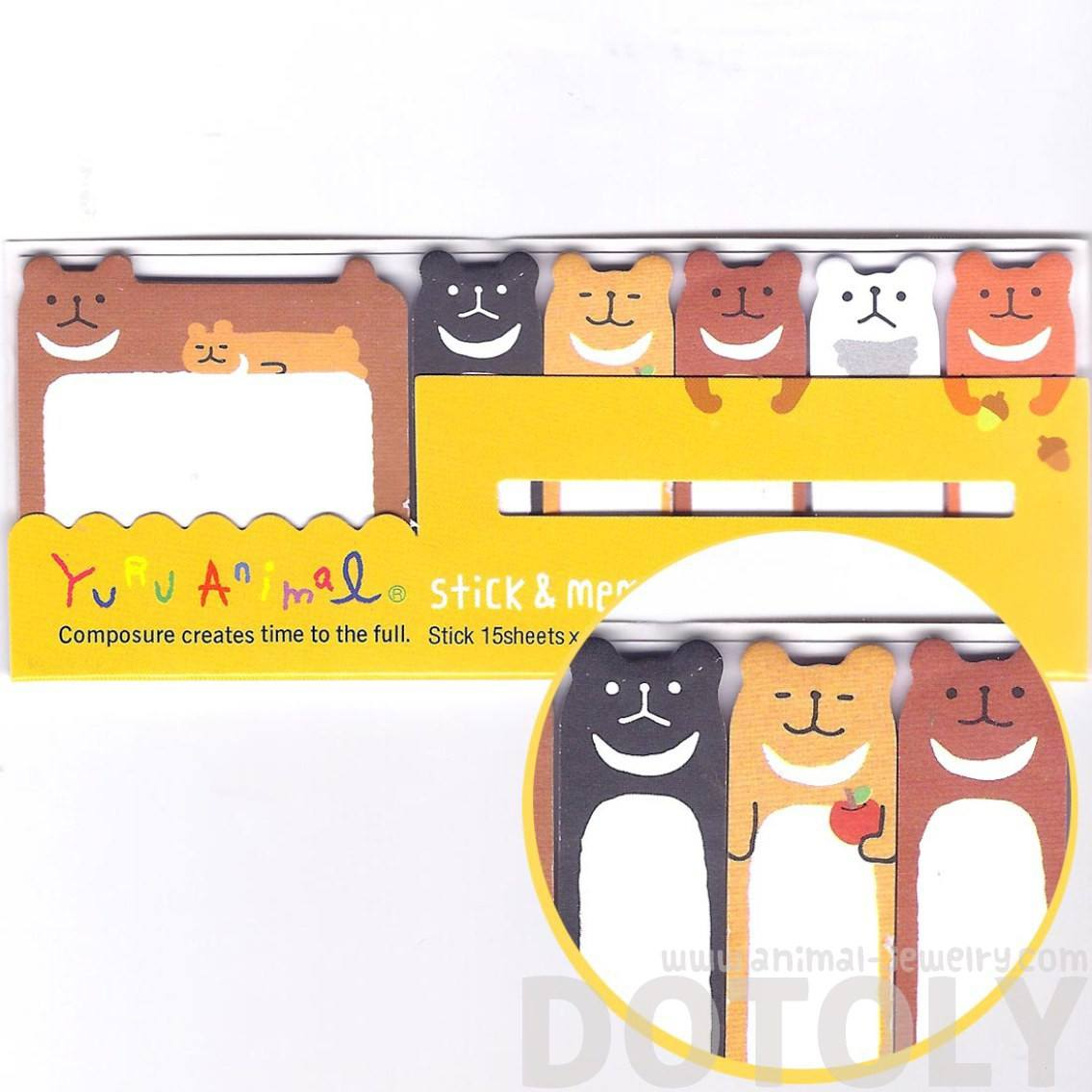 Teddy Bear Shaped Animal Memo Pad Post-it Index Sticky Tab Bookmarks