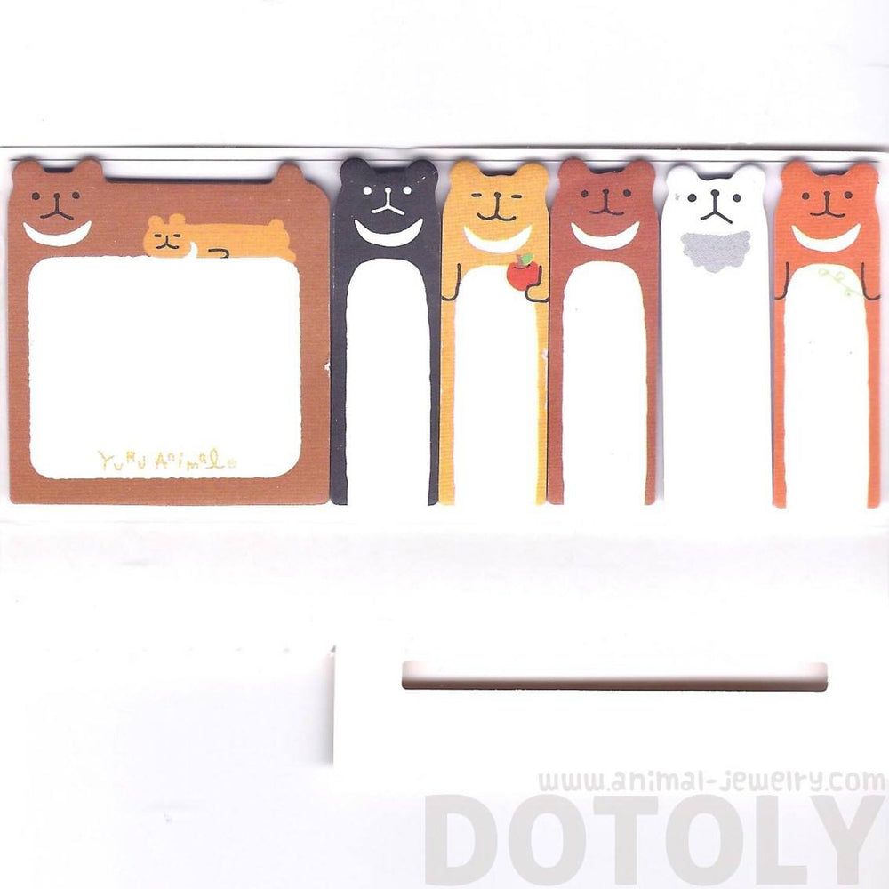 Brown Teddy Bear Shaped Animal Memo Pad Post-it Index Sticky Tab Bookmarks | DOTOLY
