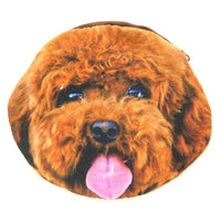 Toy Poodle Puppy Dog Face Shaped Fabric Zipper Coin Purse Make Up Bag