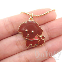 Brown Toy Poodle Dog Shaped Animal Pendant Necklace