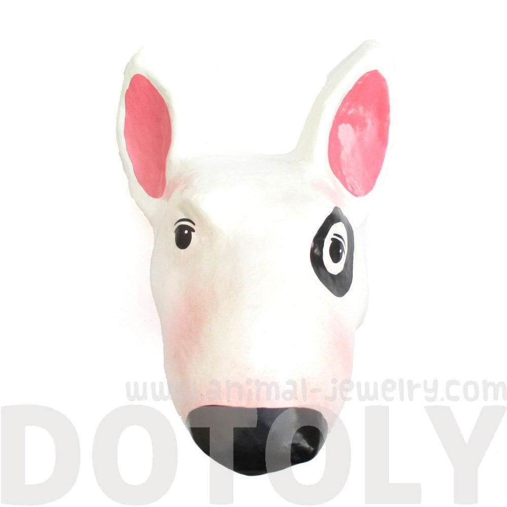 Bull Terrier Puppy Animal Head Shaped Faux Taxidermy Wall Plaque Decor