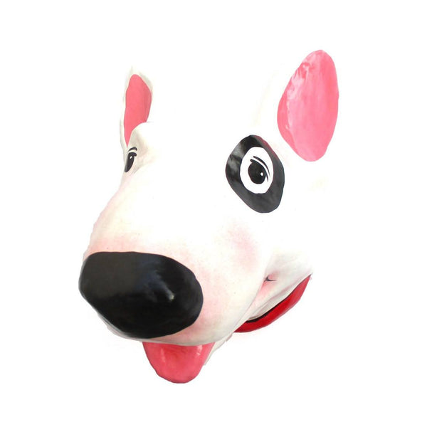 Bull Terrier Head Shaped Taxidermy Wall Hanging Tissue Paper Roll Holder | DOTOLY