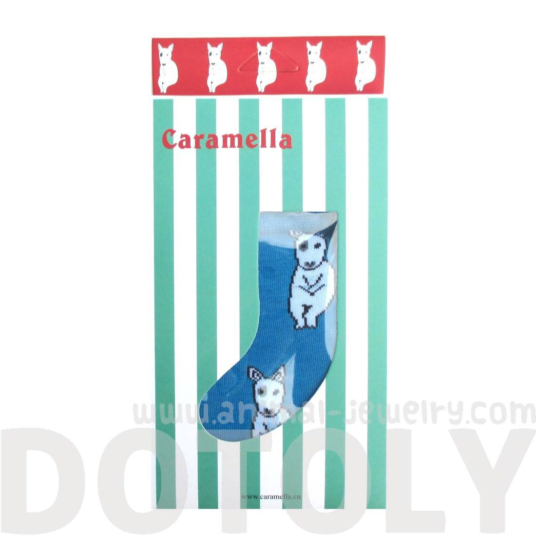 Bull Terrier Puppy Dog Animal Graphic Print Cotton Long Socks in Blue