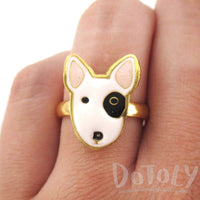 Bull Terrier Puppy Face Shaped Adjustable Animal Ring | DOTOLY