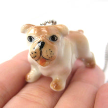 Bulldog Baby Puppy Dog Porcelain Ceramic Animal Pendant Necklace