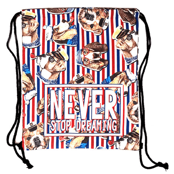 Bulldog Beagle Puppy Dogs in Sailor Hats Print Drawstring Backpack Bag