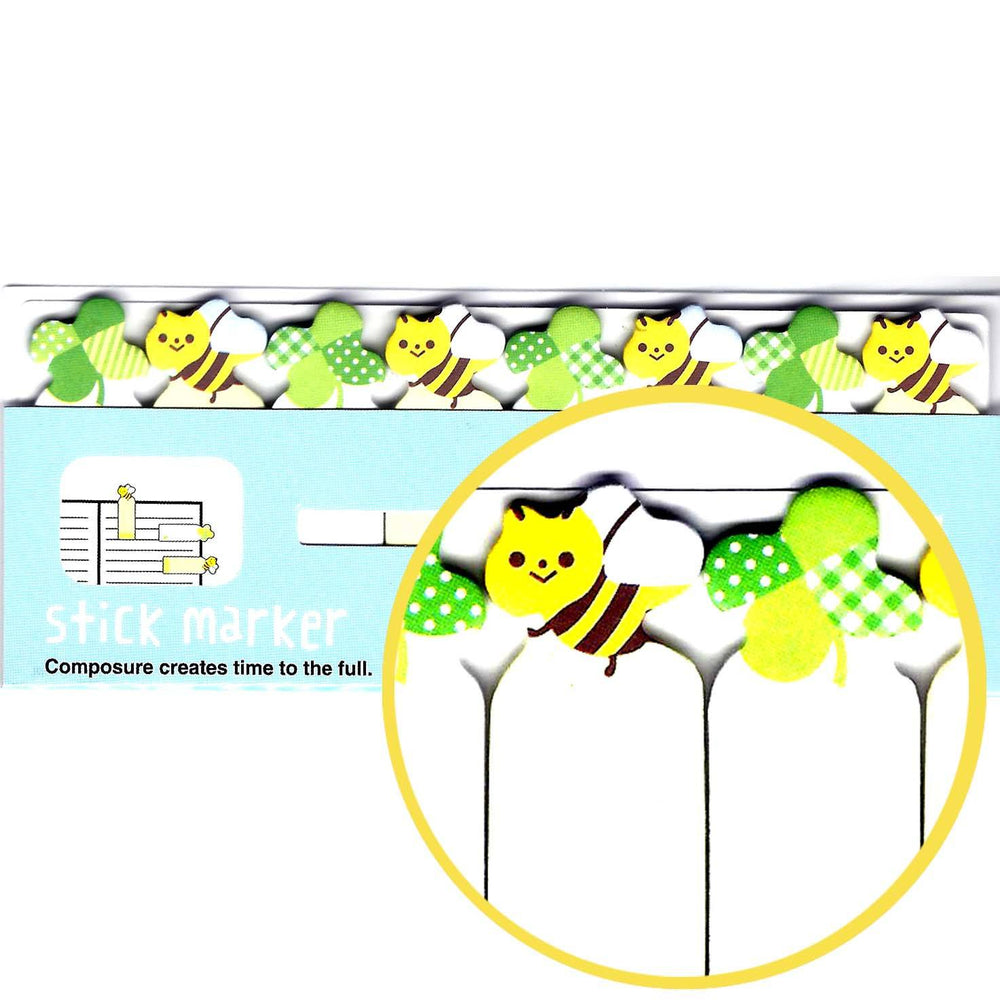 Bumble Bee and Clover Cute Memo Post-it Index Tab Sticky Bookmarks