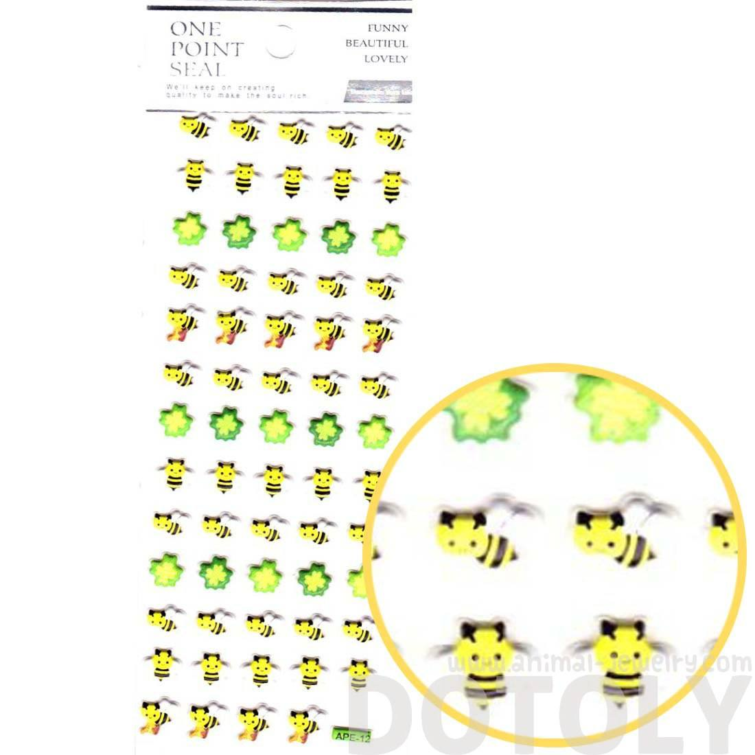 Bumble Bees and Four Leaf Clovers Shaped Puffy Stickers