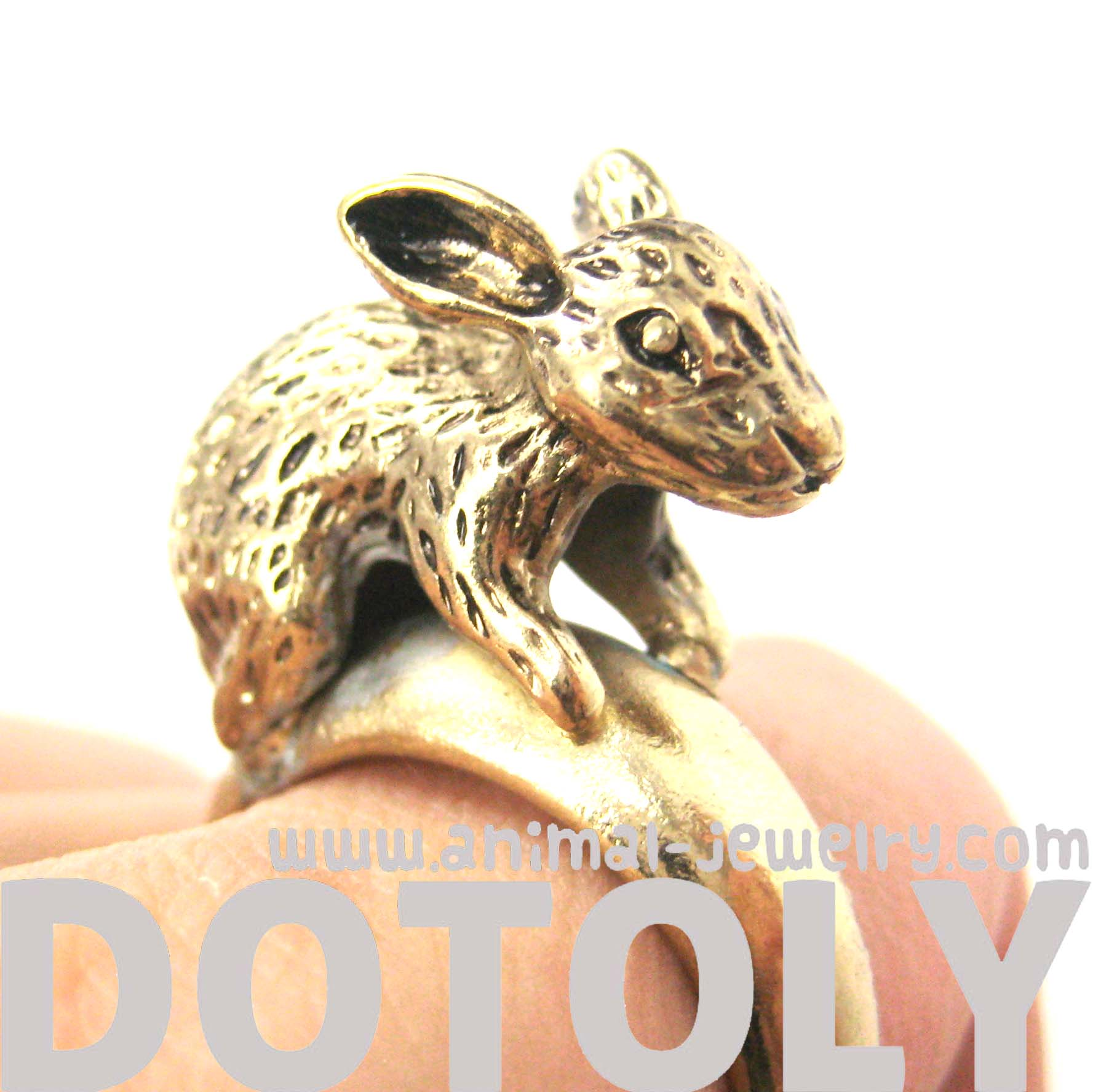 Bunny Rabbit 3D Realistic Animal Ring in Brass Size 6 | DOTOLY