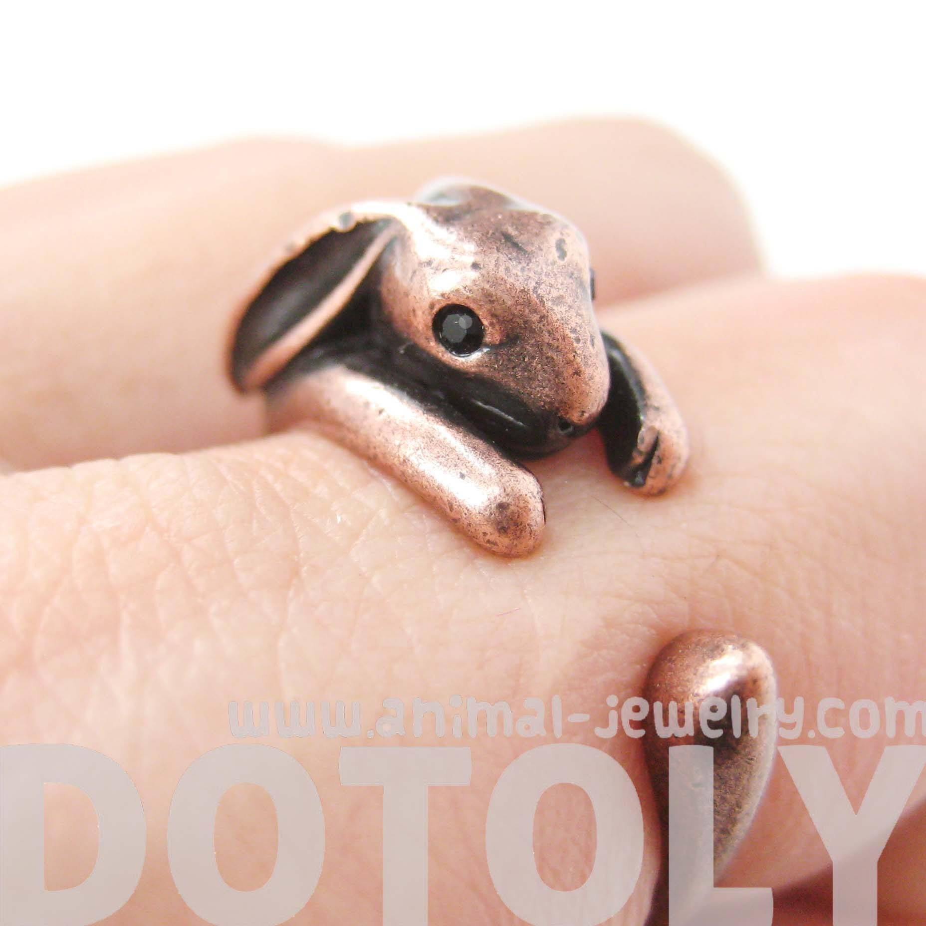 Bunny Rabbit Animal Wrap Around Ring in Copper | Sizes 4 to 9 Available