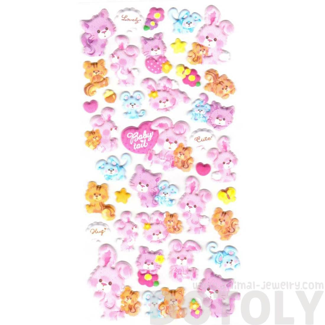 Cute Bunny Rabbit Chipmunk and Kitty Cat Shaped Stickers
