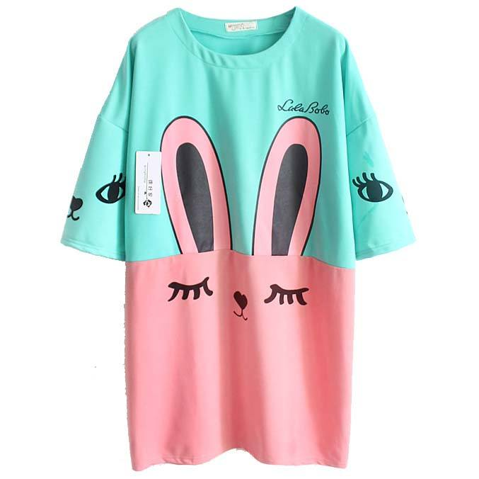Bunny Rabbit Face Print Oversized Sweater Dress in Pink