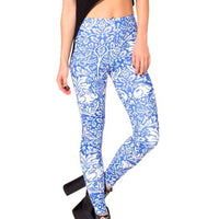 Bunny Rabbit Floral Vines Print Legging Pants for Women in White