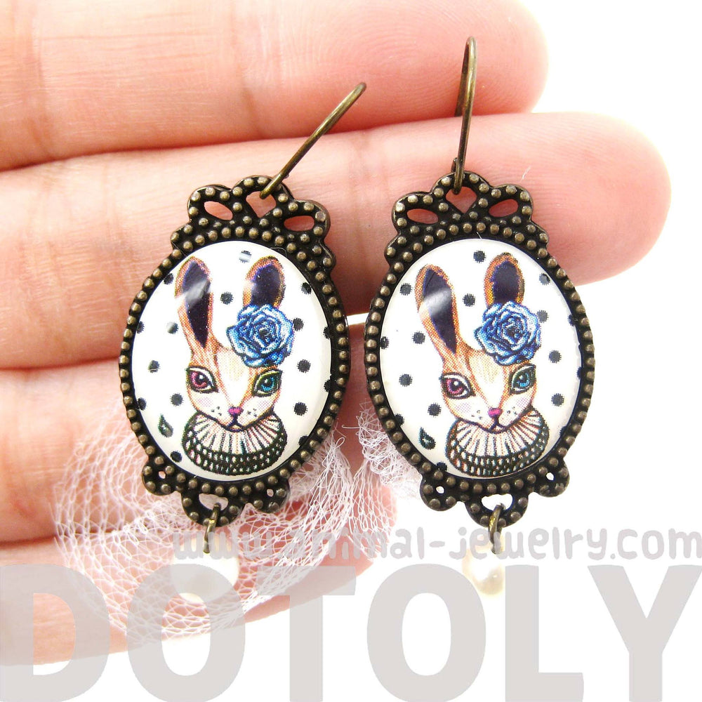 Bunny Rabbit Dangle Earrings with Polka Dot Lace and Pearl Details
