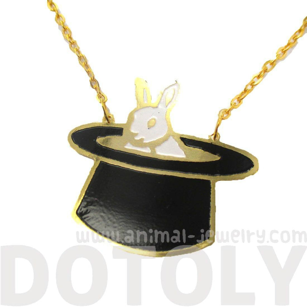 Bunny Rabbit in A Top Hat Shaped Handmade Animal Pendant Necklace