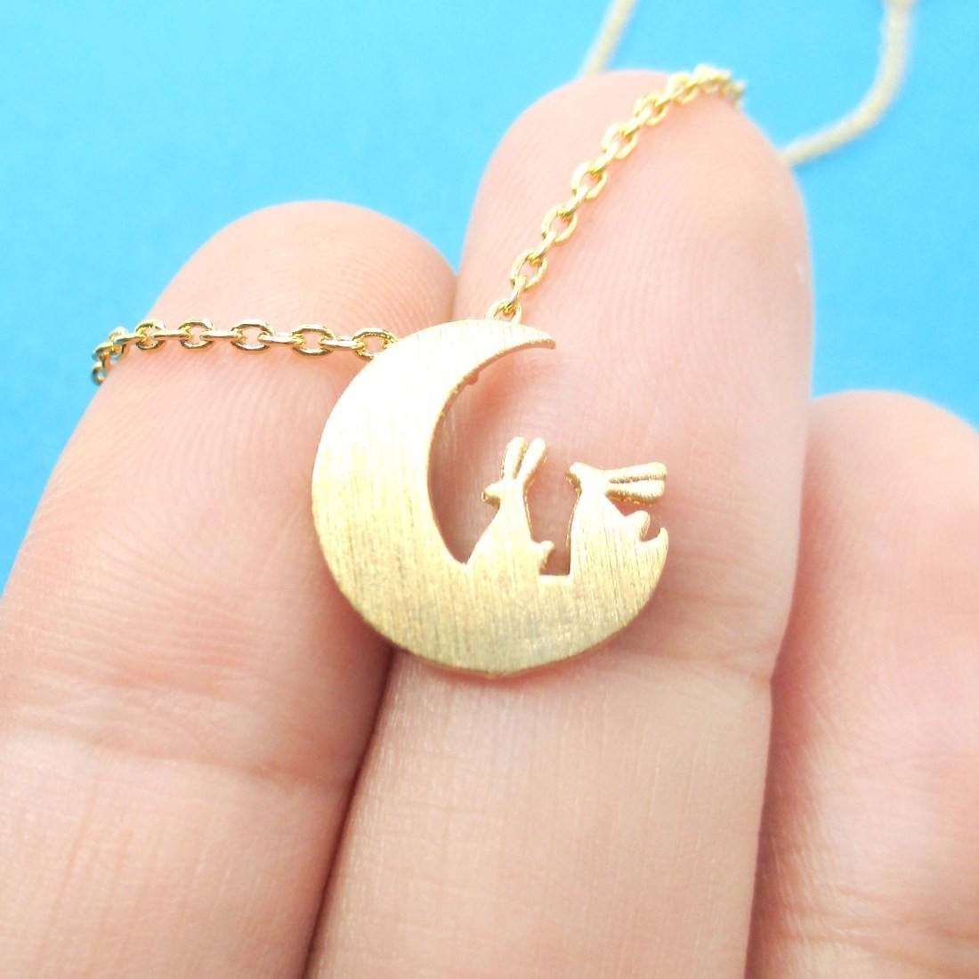 Bunny Rabbit on the Moon Silhouette Shaped Pendant Necklace in Gold