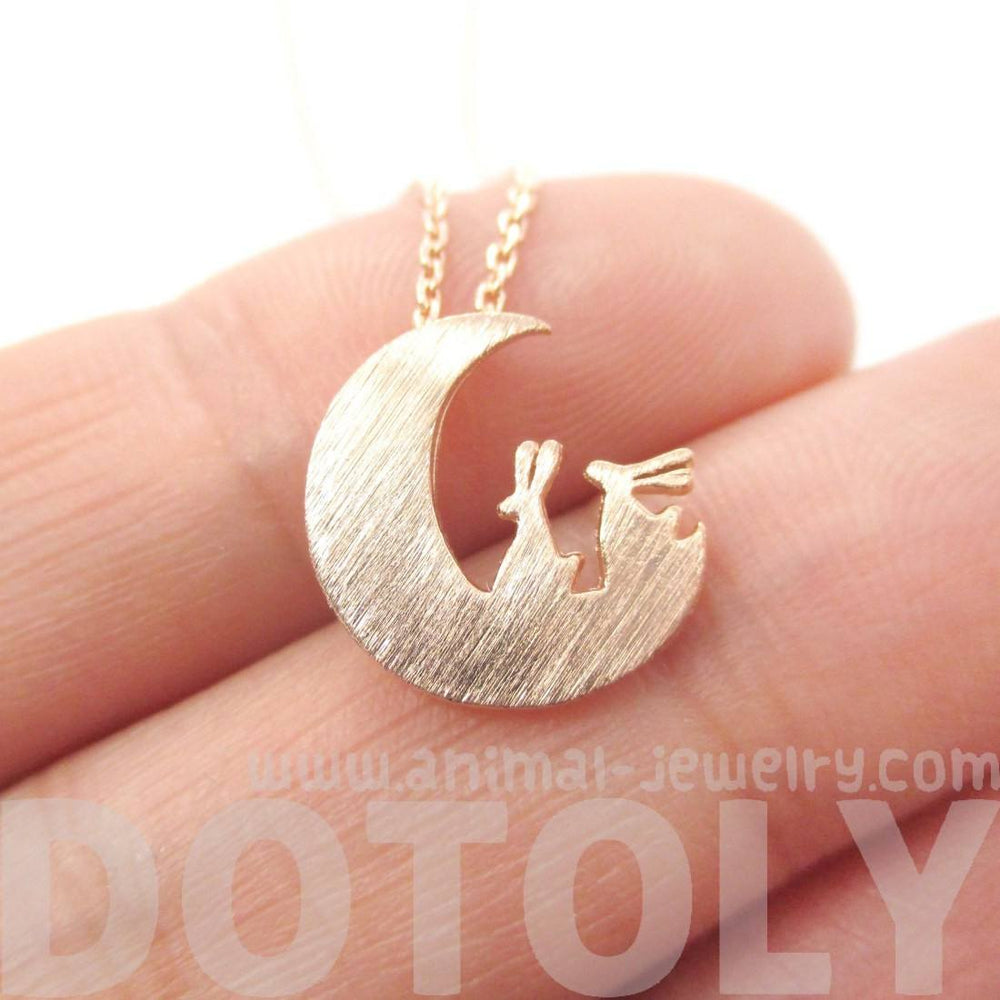 Bunny Rabbit on the Moon Silhouette Shaped Charm Necklace in Rose Gold