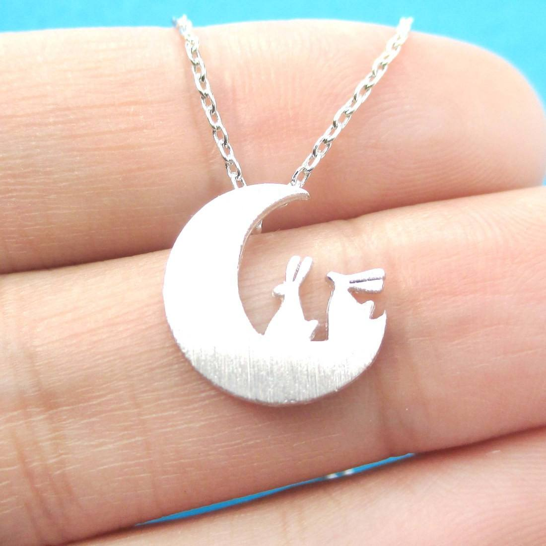 Bunny Rabbit on the Moon Silhouette Shaped Pendant Necklace in Silver